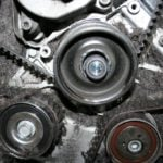 Audi 3.0 Sheared Water Pump Pulley installed